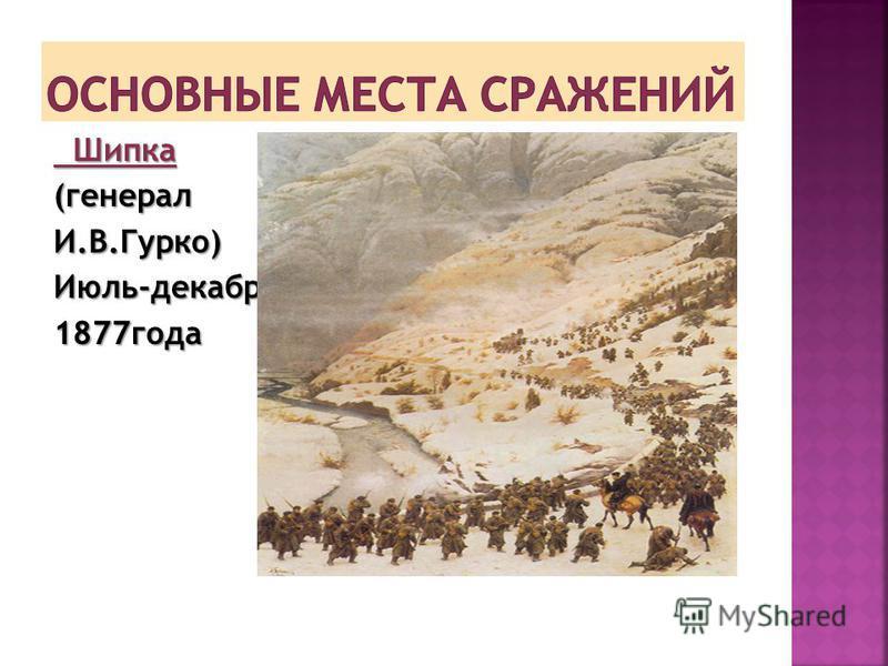 Шипка Шипка(генералы.В.Гурко)Июль-декабрь 1877 года