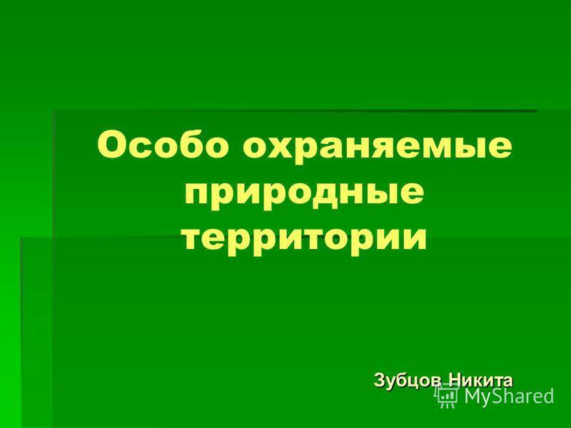 Особо охраняемые природные территории Зубцов Никита Зубцов Никита