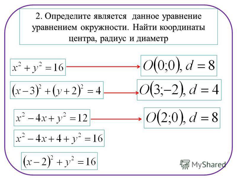 2. Определите является данное уравнение уравнением окружности. Найти координаты центра, радиус и диаметр