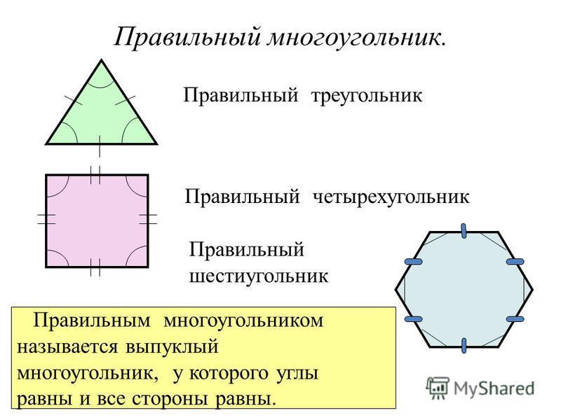 Правильный многоугольник. Правильный треугольник Правильный четырехугольник Правильный шестиугольник Правильным многоугольником называется выпуклый многоугольник, у которого углы равны и все стороны равны.