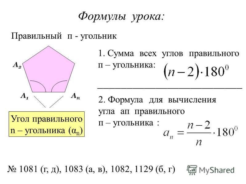 Формулы урока: Правильный п - угольник Угол правильного n – угольника (α n ) А1А1 А2А2 Ап Ап 1. Сумма всех углов правильного п – угольника: _________________________ 2. Формула для вычисления угла а п правильного п – угольника : 1081 (г, д), 1083 (а,