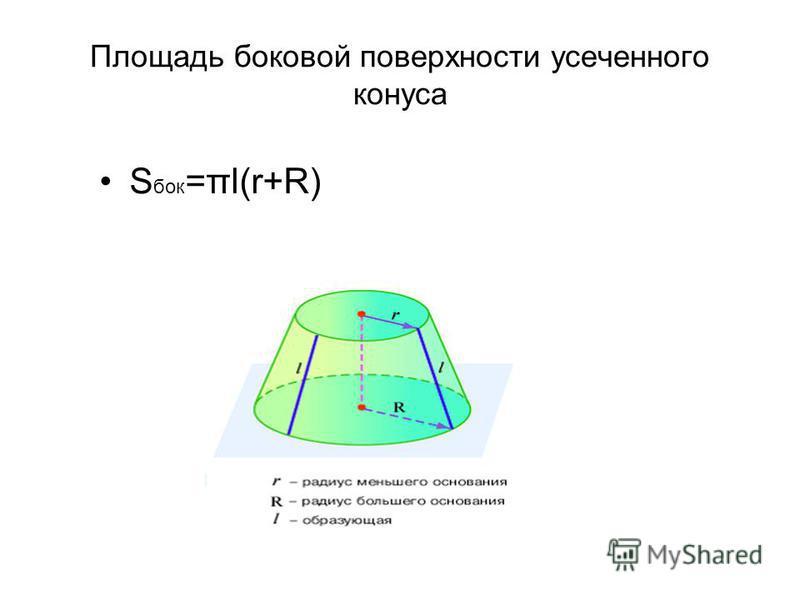 Площадь боковой поверхности усеченного конуса S бок =πl(r+R)