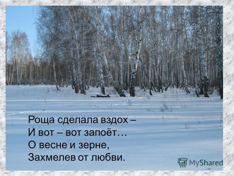 Роща сделала вздох – И вот – вот запоёт… О весне и зерне, Захмелев от любви.