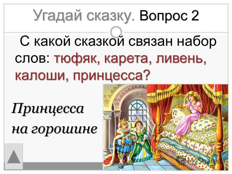 Угадай сказку. Вопрос 2 Принцесса на горошине тюфяк, карета, ливень, калоши, принцесса? С какой сказкой связан набор слов: тюфяк, карета, ливень, калоши, принцесса?