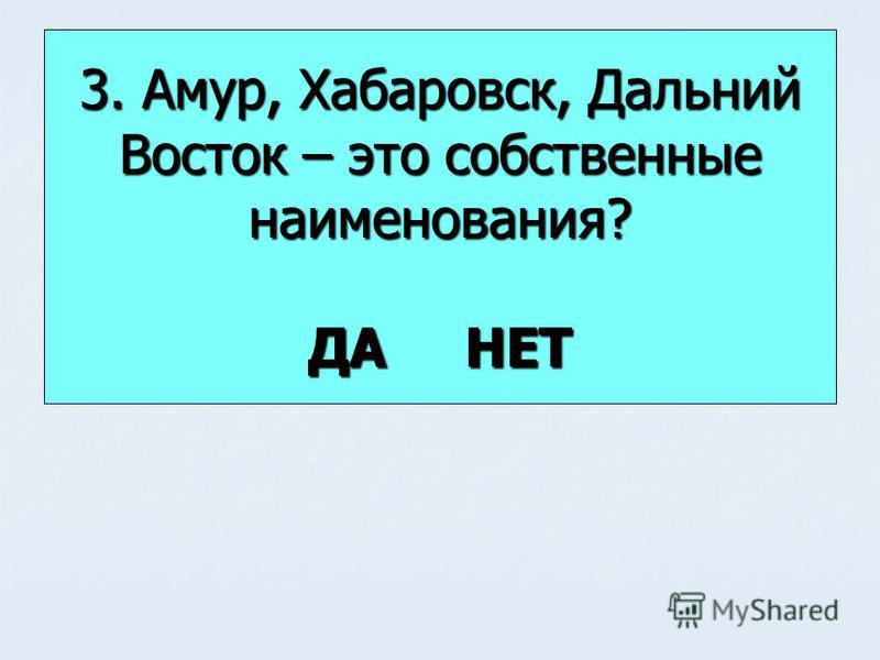 3. Амур, Хабаровск, Дальний Восток – это собственные наименования? ДА НЕТ