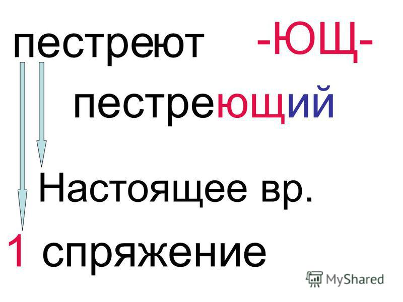 пестре ют -ЮЩ- пестреющий Настоящее вр. 1 спряжение