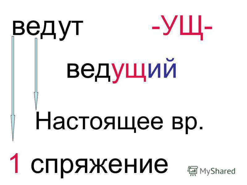 вед ут-УЩ- ведущий Настоящее вр. 1 спряжение