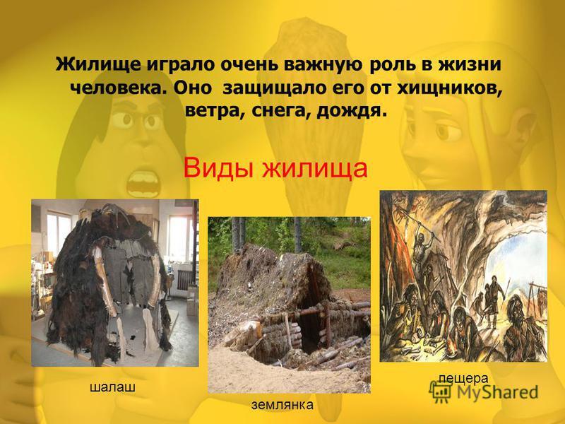 Виды жилища Жилище играло очень важную роль в жизни человека. Оно защищало его от хищников, ветра, снега, дождя. шалаш землянка пещера