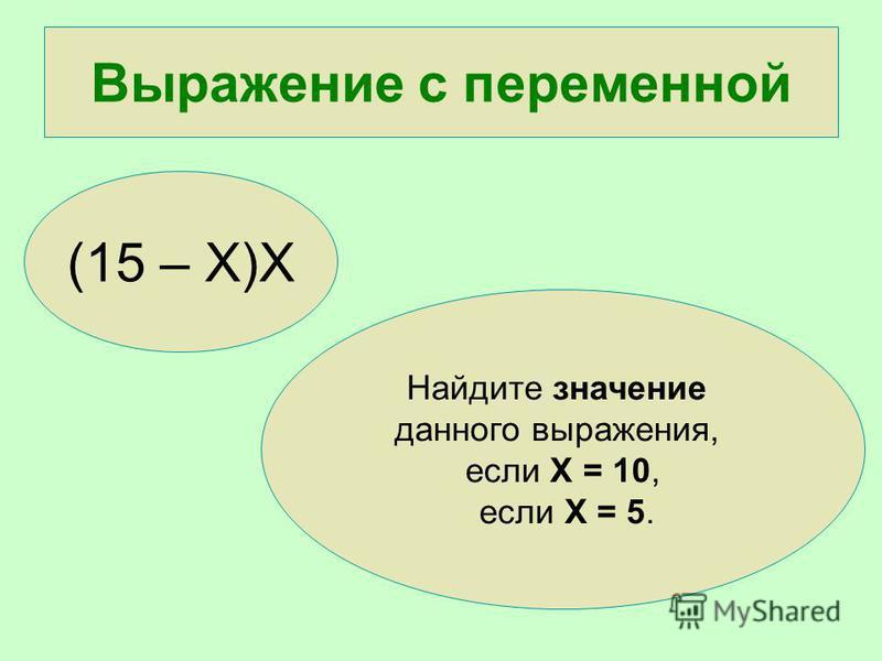 Выражение с переменной (15 – Х)Х Найдите значение данного выражения, если Х = 10, если Х = 5.