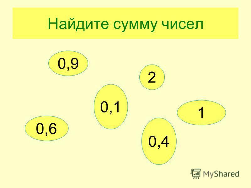 Найдите сумму чисел 0,1 0,6 0,9 2 0,4 1