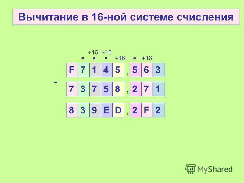 7145, 5636 3758, 2714 - 27256132 +8 Вычитание в 8-ной системе счисления,