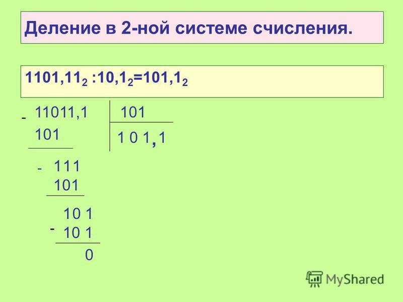 Деление Выполняется аналогично делению в 10-ной системе счисления!