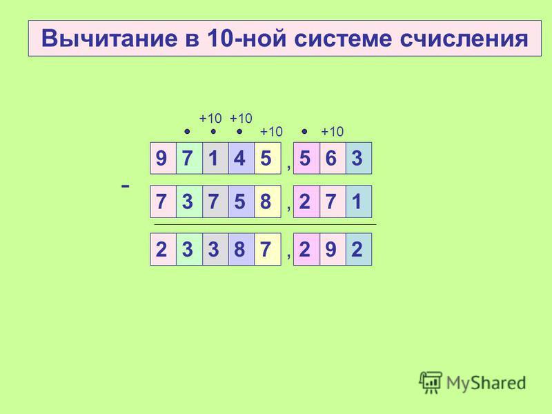 Вычитание 2. Если цифра уменьшаемого больше цифры вычитаемого, то из цифры уменьшаемого вычитаем цифру вычитаемого и полученный результат записываем в данном разряде разности 3. Если цифра уменьшаемого меньше цифры вычитаемого в данном разряде, то за