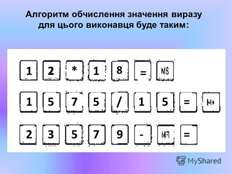 Алгоритм обчислення значення виразу для цього виконавця буде таким: 12*1 8 1575/15= = 23579-=
