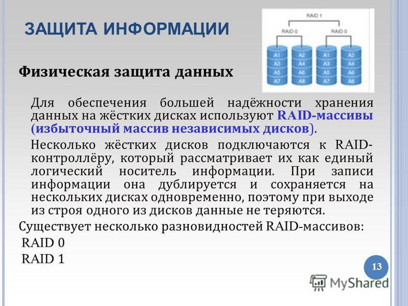 02/08/11 Физическая защита данных Для обеспечения большей надёжности хранения данных на жёстких дисках используют RAID- массивы ( избыточный массив независимых дисков). Несколько жёстких дисков подключаются к RAID - контроллёру, который рассматривает