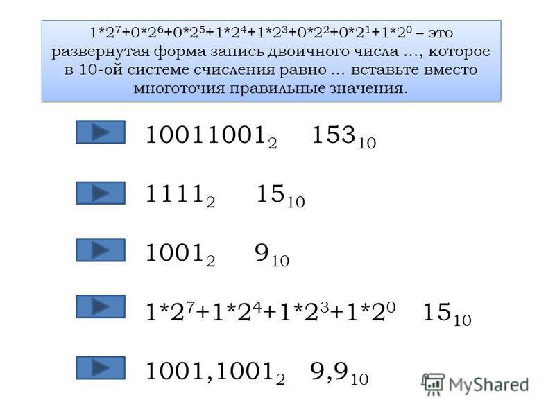1*2 7 +0*2 6 +0*2 5 +1*2 4 +1*2 3 +0*2 2 +0*2 1 +1*2 0 – это развернутая форма запись двоичного числа …, которое в 10-ой системе счисления равно … вставьте вместо многоточия правильные значения. 10011001 2 153 10 1111 2 15 10 1001 2 9 10 1*2 7 +1*2 4