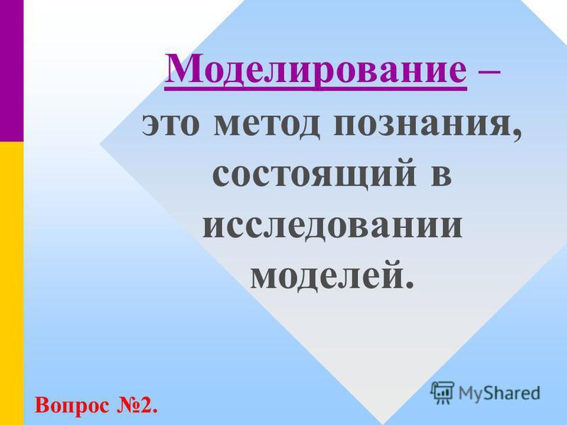 Моделирование – это метод познания, состоящий в исследовании моделей. Вопрос 2.