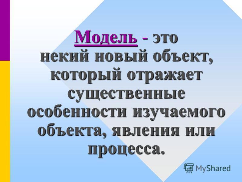 Модель - это некий новый объект, который отражает существенные особенности изучаемого объекта, явления или процесса.