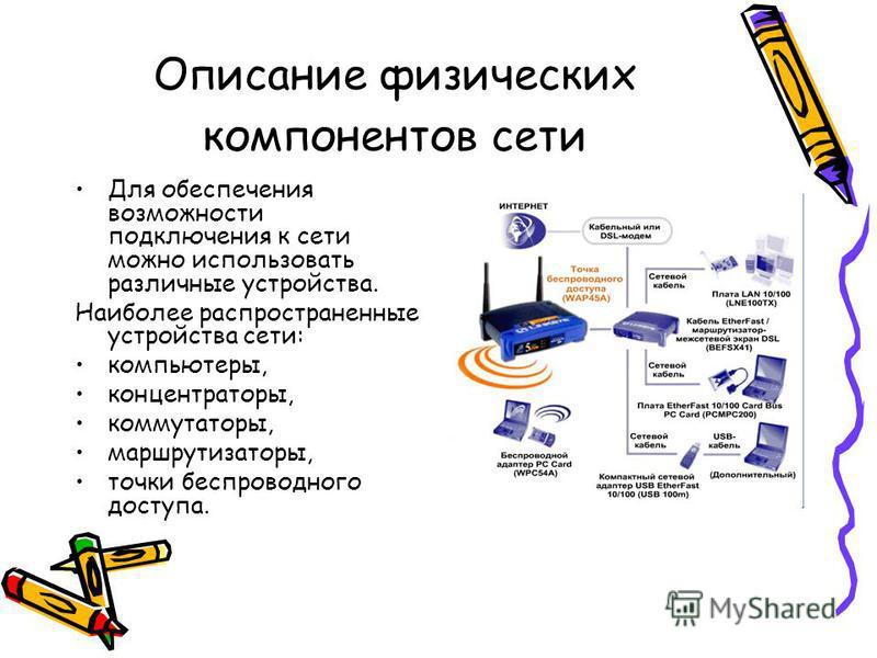 Описание физических компонентов сети Для обеспечения возможности подключения к сети можно использовать различные устройства. Наиболее распространенные устройства сети: компьютеры, концентраторы, коммутаторы, маршрутизаторы, точки беспроводного доступ