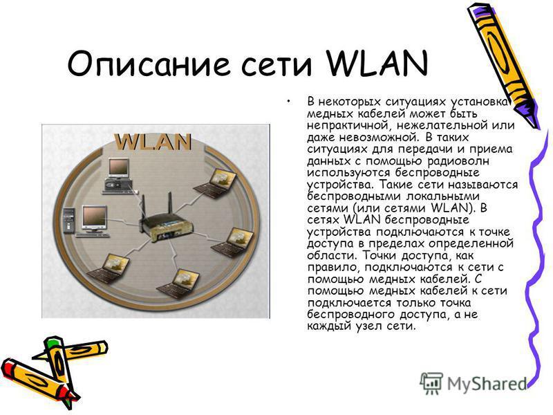 Описание сети WLAN В некоторых ситуациях установка медных кабелей может быть непрактичной, нежелательной или даже невозможной. В таких ситуациях для передачи и приема данных с помощью радиоволн используются беспроводные устройства. Такие сети называю