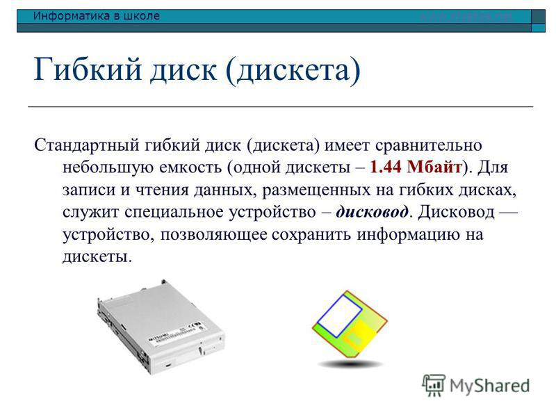 Информатика в школе www.klyaksa.netwww.klyaksa.net Гибкий диск (дискета) Стандартный гибкий диск (дискета) имеет сравнительно непольшую емкость (одной дискеты – 1.44 Мбайт). Для записи и чтения данных, размещенных на гибких дисках, служит специальное