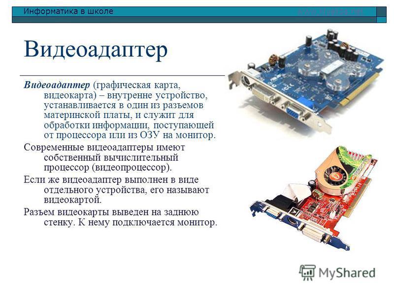 Информатика в школе www.klyaksa.netwww.klyaksa.net Видеоадаптер Видеоадаптер (графическая карта, видеокарта) – внутренне устройство, устанавливается в один из разъемов материнской платы, и служит для обрапотки информации, поступающей от процессора ил