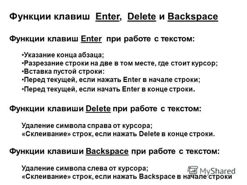 Функции клавиш Enter, Delete и Backspace Функции клавиш Enter при работе с текстом: Указание конца абзаца; Разрезание строки на две в том месте, где стоит курсор; Вставка пустой строки: Перед текущей, если нажать Enter в начале строки; Перед текущей,