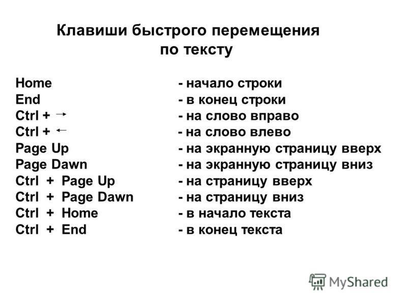 Клавиши быстрого перемещения по тексту Home - начало строки End - в конец строки Ctrl + - на слово вправо Ctrl + - на слово влево Page Up - на экранную страницу вверх Page Dawn - на экранную страницу вниз Ctrl + Page Up - на страницу вверх Ctrl + Pag