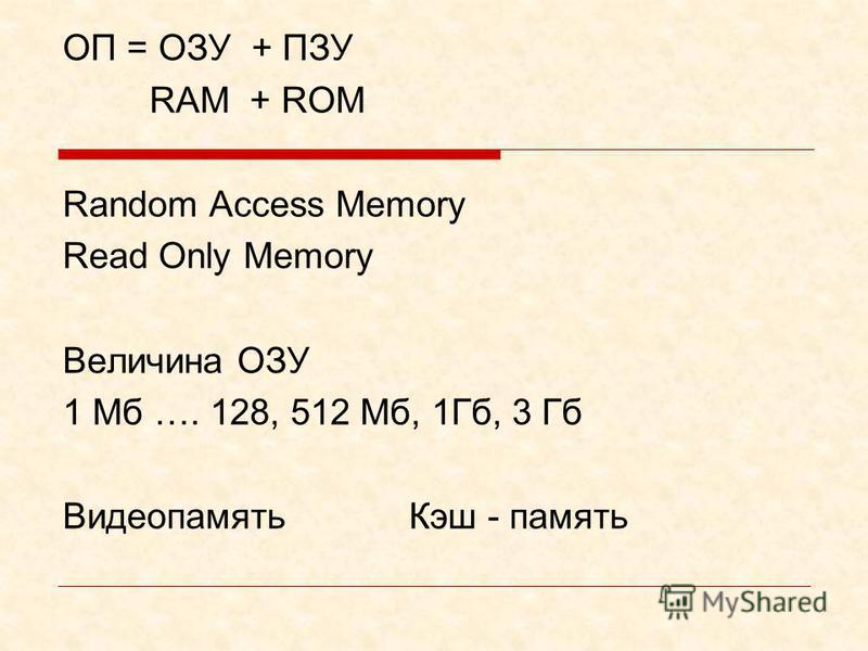 Оперативная память Оперативная память – это быстрое запоминающее устройство не очень большого объема. Непосредственно связанное с процессором и предназначенное для записи, считывания и хранения выполняемых программ и данных, обрабатываемых этими прог