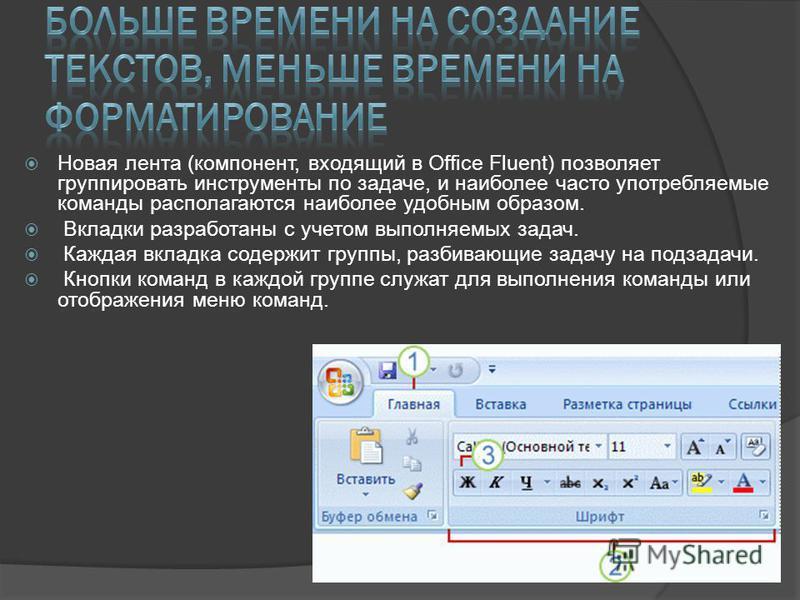 Новая лента (компонент, входящий в Office Fluent) позволяет группировать инструменты по задаче, и наиболее часто употребляемые команды располагаются наиболее удобным образом. Вкладки разработаны с учетом выполняемых задач. Каждая вкладка содержит гру