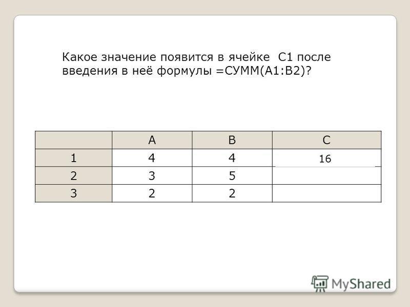 Какое значение появится в ячейке С1 после введения в неё формулы =СУММ(A1:B2)? ABC 144=СУММ(A1:B2) 235 322 16