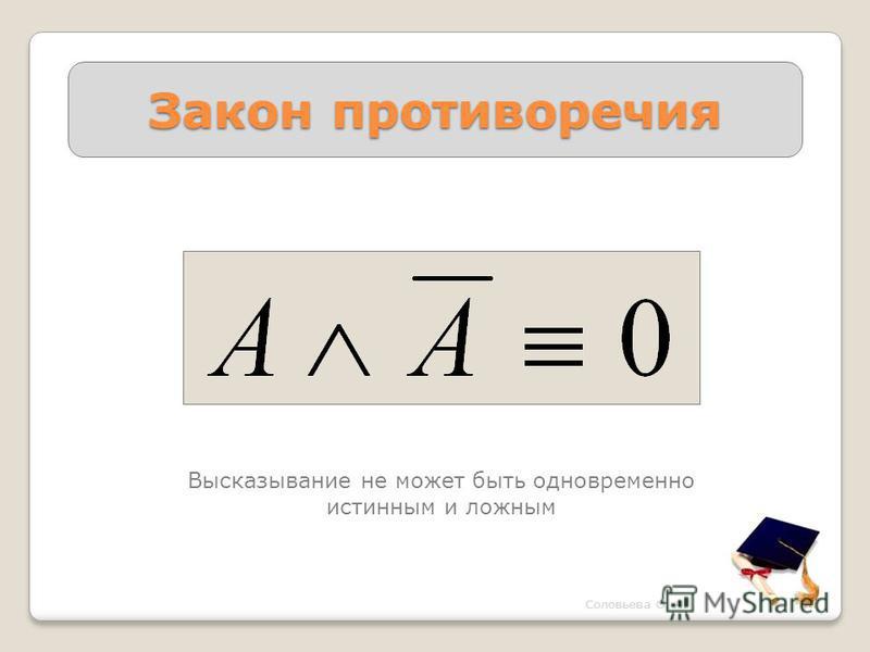 Закон противоречия Высказывание не может быть одновременно истинным и ложным Соловьева О. А.