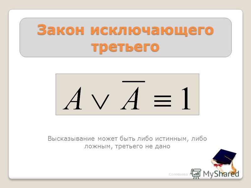 Закон исключающего третьего Высказывание может быть либо истинным, либо ложным, третьего не дано Соловьева О. А.
