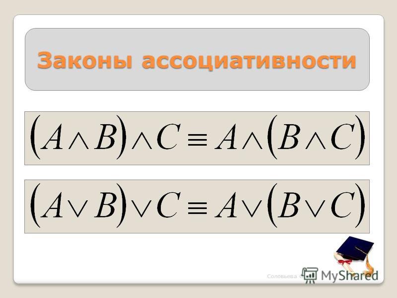 Законы ассоциативности Соловьева О. А.
