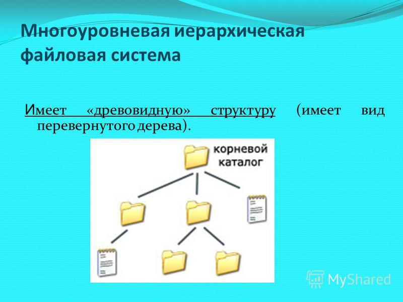 И меет «древовидную» структуру (имеет вид перевернутого дерева). Многоуровневая иерархическая файловая система