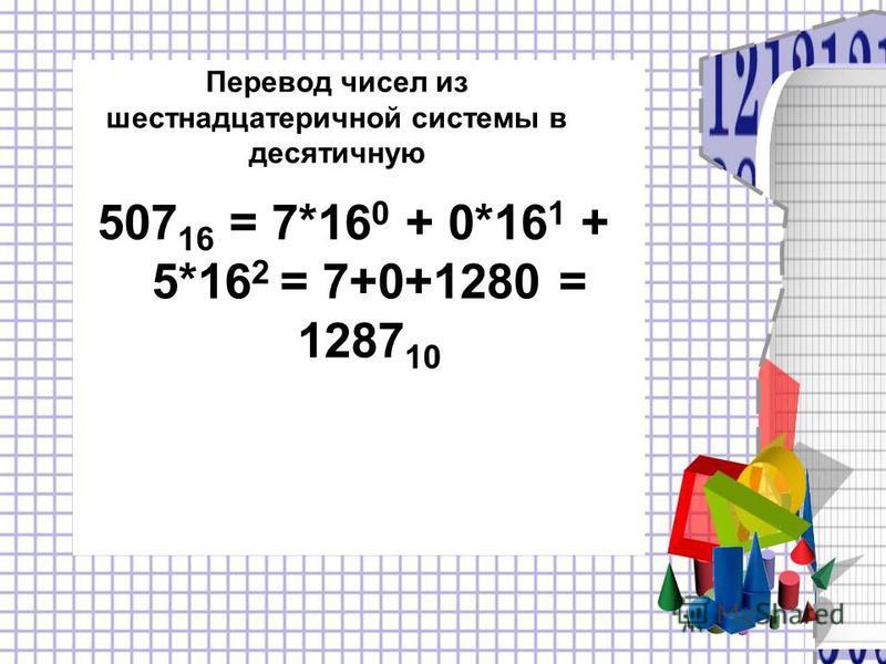 Перевод чисел из шестнадцатеричной системы в десятичную 507 16 = 7*16 0 + 0*16 1 + 5*16 2 = 7+0+1280 = 1287 10