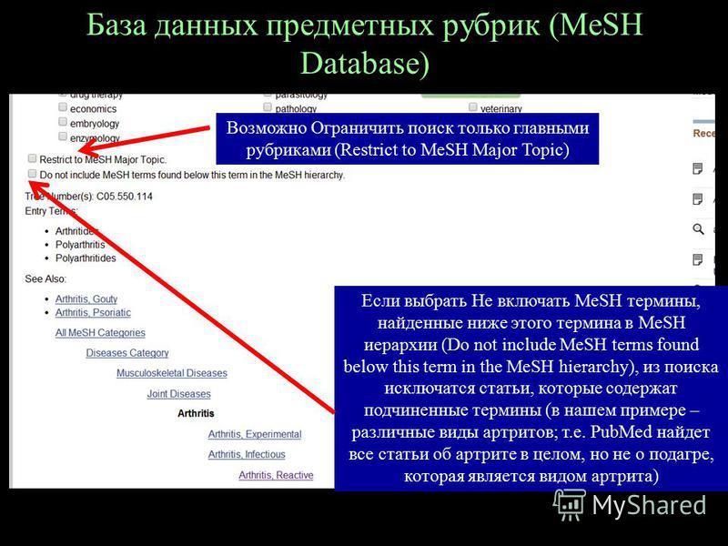 База данных предметных рубрик (MeSH Database) Возможно Ограничить поиск только главными рубриками (Restrict to MeSH Major Topic) Если выбрать Не включать MeSH термины, найденные ниже этого термина в MeSH иерархии (Do not include MeSH terms found belo