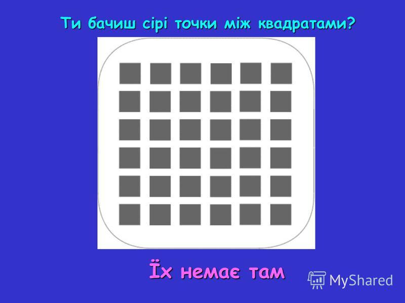 Ти бачиш сірі точки між квадратами? Їх немає там