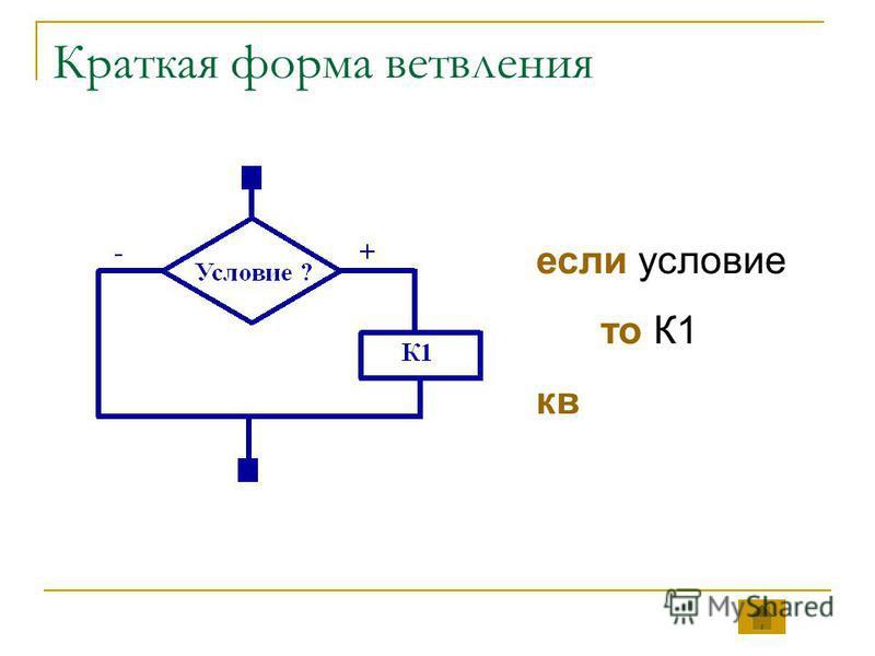 Краткая форма ветвления если условие то К1 кв