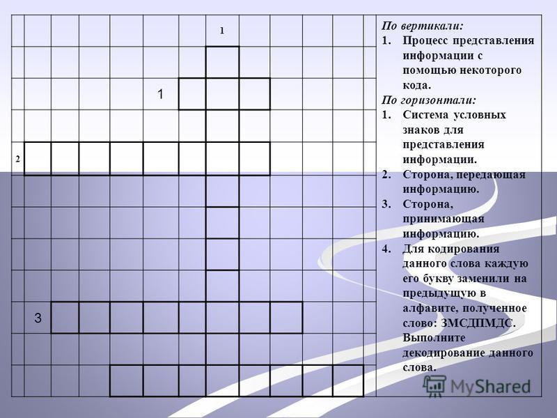 1 По вертикали: 1. Процесс представления информации с помощью некоторого кода. По горизонтали: 1. Система условных знаков для представления информации. 2.Сторона, передающая информацию. 3.Сторона, принимающая информацию. 4. Для кодирования данного сл
