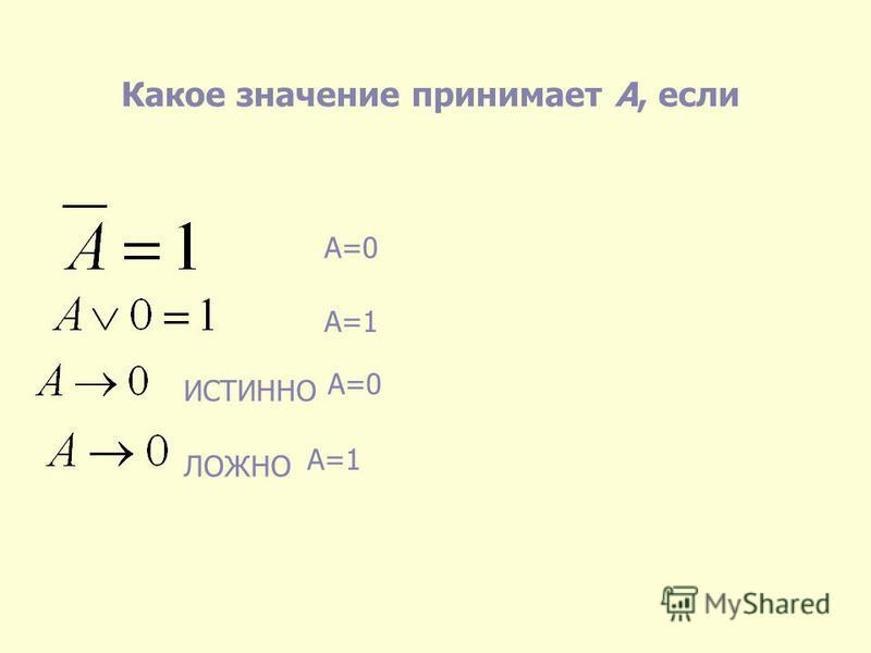 Какое значение принимает А, если ИСТИННО ЛОЖНО А=0 А=1 А=0 А=1