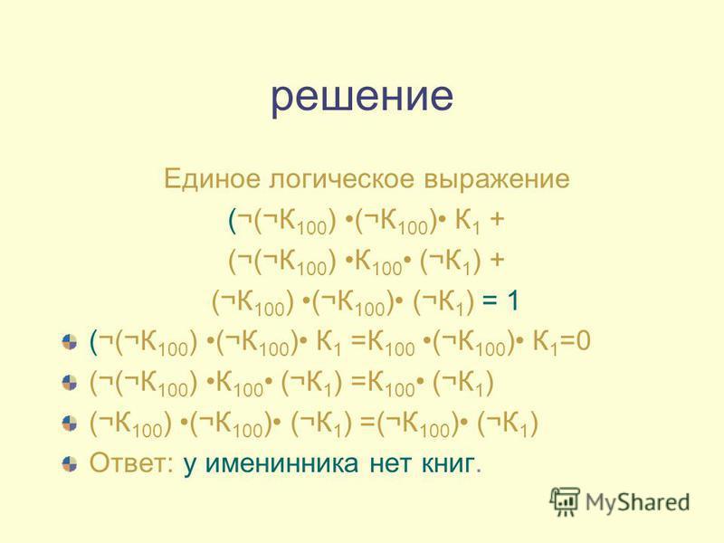 решение Единое логическое выражение (¬(¬К 100 ) (¬К 100 ) К 1 + (¬(¬К 100 ) К 100 (¬К 1 ) + (¬К 100 ) (¬К 100 ) (¬К 1 ) = 1 (¬(¬К 100 ) (¬К 100 ) К 1 =К 100 (¬К 100 ) К 1 =0 (¬(¬К 100 ) К 100 (¬К 1 ) =К 100 (¬К 1 ) (¬К 100 ) (¬К 100 ) (¬К 1 ) =(¬К 10