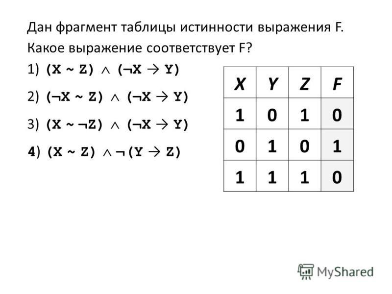 Дан фрагмент таблицы истинности выражения F. Какое выражение соответствует F? 1) (X ~ Z) (¬X Y) 2) (¬X ~ Z) (¬X Y) 3) (X ~ ¬Z) (¬X Y) 4 ) (X ~ Z) ¬(Y Z) XYZF 1010 0101 1110