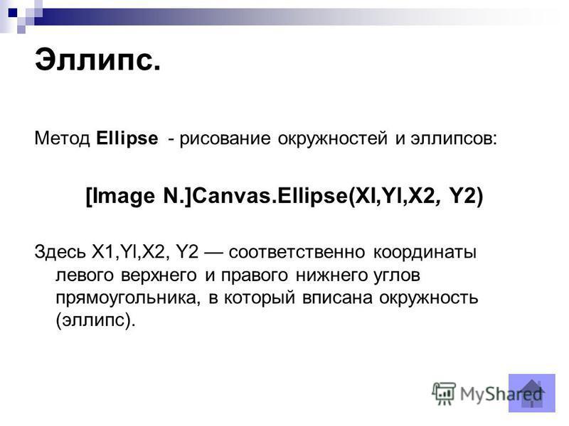 Эллипс. Метод Ellipse - рисование окружностей и эллипсов: [Image N.]Canvas.Ellipse(XI,Yl,X2, Y2) Здесь X1,Yl,X2, Y2 соответственно координаты левого верхнего и правого нижнего углов прямоугольника, в который вписана окружность (эллипс).