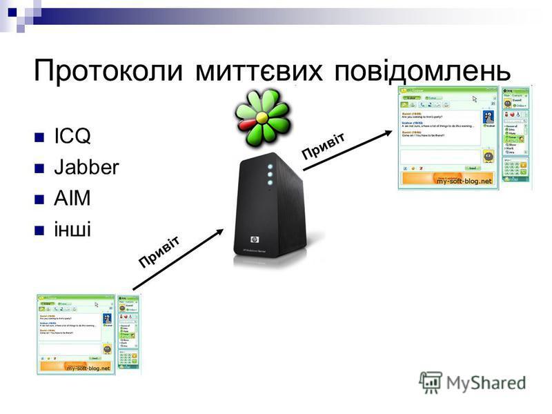 Протоколи миттєвих повідомлень ICQ Jabber AIM інші Привіт