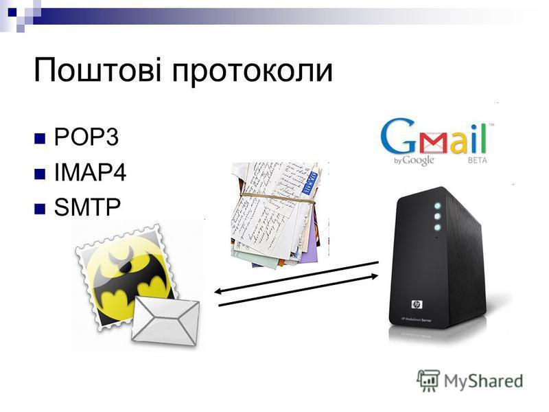 Поштові протоколи POP3 IMAP4 SMTP