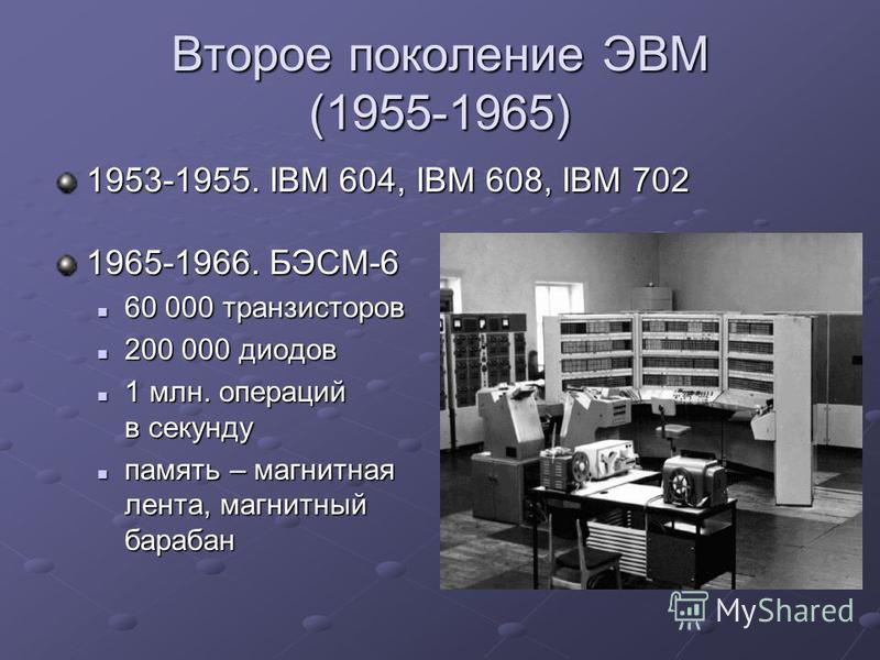 Второе поколение ЭВМ (1955-1965) 1953-1955. IBM 604, IBM 608, IBM 702 1965-1966. БЭСМ-6 60 000 транзисторов 60 000 транзисторов 200 000 диодов 200 000 диодов 1 млн. операций в секунду 1 млн. операций в секунду память – магнитная лента, магнитный бара