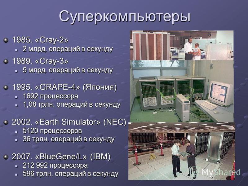 Суперкомпьютеры 1985. «Cray-2» 2 млрд. операций в секунду 2 млрд. операций в секунду 1989. «Cray-3» 5 млрд. операций в секунду 5 млрд. операций в секунду 1995. «GRAPE-4» (Япония) 1692 процессора 1692 процессора 1,08 трлн. операций в секунду 1,08 трлн