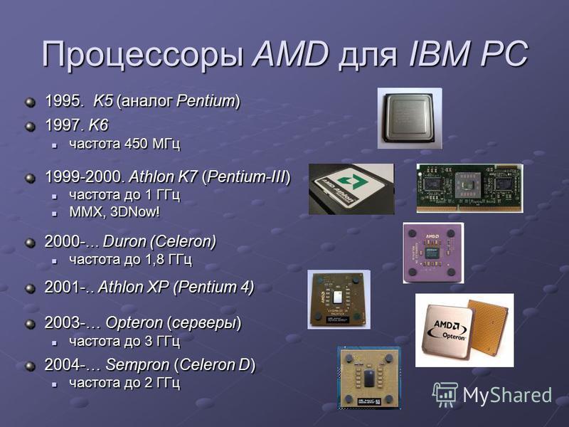 Процессоры AMD для IBM PC 1995. K5 (аналог Pentium) 1997. K6 частота 450 МГц частота 450 МГц 1999-2000. Athlon K7 (Pentium-III) частота до 1 ГГц частота до 1 ГГц MMX, 3DNow! MMX, 3DNow! 2000-... Duron (Celeron) частота до 1,8 ГГц частота до 1,8 ГГц 2