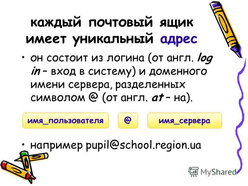 он состоит из логина (от англ. log in – вход в систему) и доменного имени сервера, разделенных символом @ (от англ. at – на). например pupil@school.region.ua каждый почтовый ящик имеет уникальный адрес имя_пользователя имя_сервера@